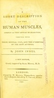 view A short description of the human muscles, chiefly as they appear on dissection ; together with their several uses, and the synonyma of the best authors / by John Innes.