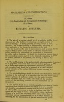 view Suggestions and instructions in reference to (1) - sites, (2) - construction and arrangement of buildings, (3) - plans of lunatic asylums