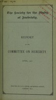 view Report of the Committee of Heredity, April, 1901.