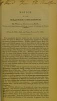 view Notice of the molluscum contagiosum / by William Henderson.