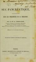 view Du suc pancréatique, et de son role dans les phénomènes de la digestion / par le Dr. Cl. Bernard.
