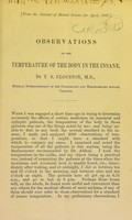 view Observations on the temperature of the body in the insane / by T. S. Clouston, M.D.