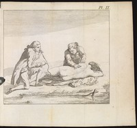view Two men possibly resuscitating a drowned woman using a long pipe/kit through which one is blowing into her anus [electronic resource]