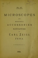 view Microscopes and microscopical accessories manufactured by Carl Zeiss, Jena.
