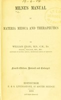 view Manual of materia medica and therapeutics / by A. Milne.