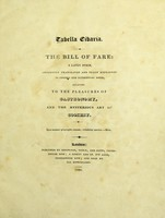 view Tabella cibaria = The bill of fare: a Latin poem, implicitly translated and fully explained in copious and interesting notes, relating to the pleasures of gastronomy, and the mysterious art of cookery.