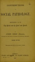 view Contributions to social pathology / by John Bird (Blind).