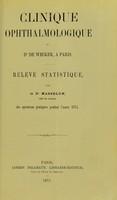 view Clinique ophthalmologique du Dr. de Wecker, a Paris : relevé statistique / par Dr. Masselon.