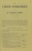 view De l'iritis syphilitique / par le Dr Drognat-Landré.