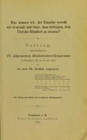 view Was können wir, der Einzelne sowohl wie Gemeinde und Staat, dazu beitragen, dem Übel der Blindheit zu steurern? / von A. Schumann.