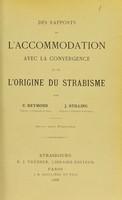 view Des rapports de l'accommodation avec la convergence et de l'origine du strabisme / par C. Reymond , J. Stilling.