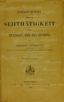 view Untersuchungen über Sehthätigkeit der Netzhaut und des Gehirns / von Arnaldo Angelucci.