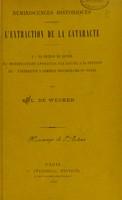 view Réminiscences historiques concernant l'extraction de la cataracte / par L. De Wecker.