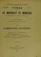 view De l'amblyopie nicotique : thése pour le doctorat en médecine / par J. Larcher.