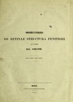 view Observationes de retinae structura penitiori / auctore Max. Schultze.
