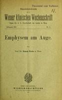 view Emphysem am Auge / von Ernest Fuchs.