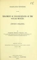 view Graduated tenotomy in the treatment of insufficiencies of the ocular muscles : (Stevens's operation) / by Charles Hermon Thomas.