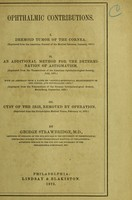 view Ophthalmic contributions / by George Strawbridge.