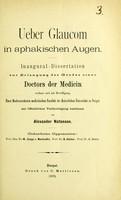 view Ueber Glaucom in aphakischen Augen / von Alexander Natanson.