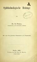 view Ophthalmologie Beiträge / von R. Förster.