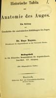 view Historische Tafeln zur Anatomie des Auges : ein Beitrag zur Geschichte der anatomischen Abbildungen des Auges / von Hugo Magnus.