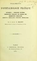 view Fragments d'Ophthalmologie pratique / par S. Baudry.