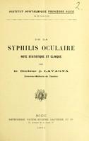 view De la syphilis oculaire : note statistique et clinique / par J. Lavagna.