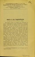view Aspirin in der Augenheilkunde / par B. Wicherkiewicz.
