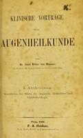 view Klinische Vorträge über Augenheilkunde / von Joseph Ritter von Hasner.