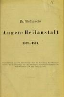 view Dr. Steffan'sche Augen-Heilanstalt 1873-1874.