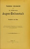 view Fünfzehnter Jahresbericht der Dr. Steffan'sche Augen-Heilanstalt in Frankfurt am Main.