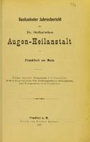 view Sechzehnter Jahresbericht der Dr. Steffan'sche Augen-Heilanstalt in Frankfurt am Main.