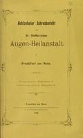 view Achtzehnter Jahresbericht der Dr. Steffan'sche Augen-Heilanstalt in Frankfurt am Main.