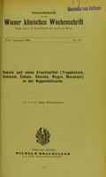 view Kokain und seine Ersatzmittel (Tropakokain, Holokain, Eukain, Stovain, Alypin, Novokain) in der Augenheilkunde / von Hugo Wintersteiner.