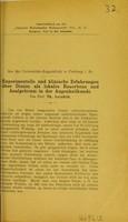 view Experimentelle und klinische Erfahrungen über Dionin als lokales Resorbens und Analgeticum in der Augenheilkunde / Th. Axenfeld.