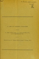 view A case of Landry's paralysis / by John Cowan, A. J. Ballatyne and D. MacDonald.