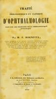 view Traité philosophique et clinique d'ophthalmologie basé sur les principes de la thérapeutique dynamique / par M. F. Rognetta.