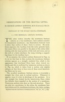 view Observations on the macula lutea / by George Lindsay Johnson.