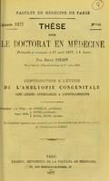 view Contribution a l'étude de l'amblyopie congénitale : thèse pour le doctorat en médecine / par Emile Piérin.