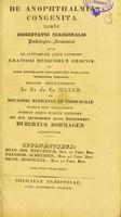 view De anophthalmia congenita : disseratio inauguralis Pathologico-Anatomica / Hubertus Dormagen.