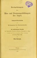 view Beobachtungen über Miss- und Hemmungsbildungen des Auges : inaugural-Dissertation zur Erlangung der Doctorwürde / von Otto Durlach.