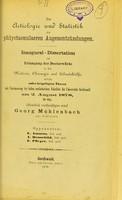 view Zur Aetiologie und Statistik der phlyctaenulaeren Augenentzündungen : inaugural-Dissertation zur Erlangung der Doctorwürde / Georg Mühlenbach.
