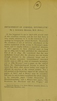 view Detachment of corneal epithelium / by J. Acworth Menzies.