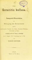 view Ueber Keratitis bullosa : Inaugural-Dissertation zur Erlangung der Doctorwürde / von Wilhelm Chantraine.