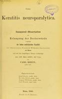 view Ueber Keratitis neuroparalytica : inaugural-dissertation zur Erlangung der Doctorwürde / von Carl Rhein.