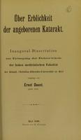 view Über Erblichkeit der angeborenen Katarakt : inaugural-Dissertation zur Erlangung der Doktorwürde / vorgelegt von Ernst Daust.