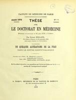 view De quelques altérations de la peau dans le goitre exophthalmique : thèse pour le doctorat en médecine / par Ernest Rolland.