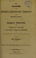 view Zur Casuistik von plötzlich eingetretener Amaurose nach Blutbreechen : inaugural-Dissertation zur Erlangung der Doctorwürde / vorgelegt von Otto Sellheim.