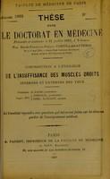 view Contribution a l'étiologie de l'insuffisance des muscles droits internes et externes des yeux : thèse pour le doctorat en médecine / par René-François-Fréjus Comte-Lagauterie.