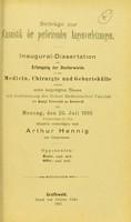 view Beiträge zur Casuistik der perforirenden Augenverletzungen : inaugural-Dissertation zur Erlangung der Doctorwürde / Arthur Henning.